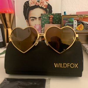 Wildfox Metallic Lolita Deluxe Heart Sunglasses